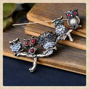 Antiqued Owl Jeweled Brooch
